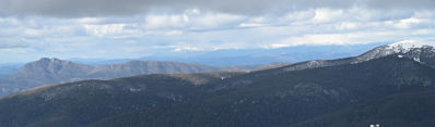 view from Mt Buller - from Mt Cobbler to Stirling, with Bogong and Spion Kopje the white ridges out the back. Oct 2009